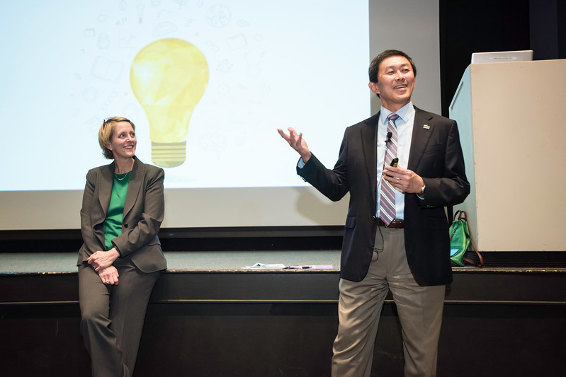 Jennifer (J.J.) Davis, Senior Vice President for Administration and Finance, Office of Senior Vice President and David S. Wu, Provost and Executive Vice President, Office of the Provost hold a Town Hall meeting at JC cinema.  Photo by:  Ron Aira/Creative Services/George Mason University
