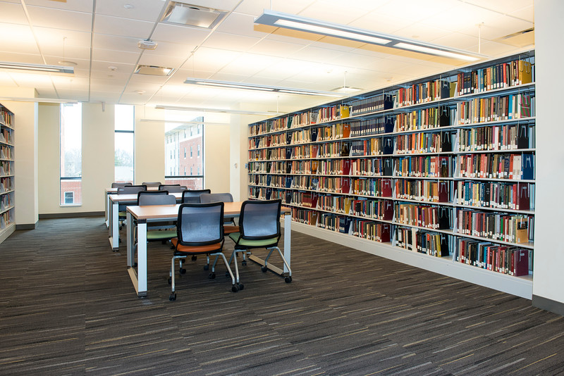 The Fenwick Library will open next week, just in time for the Spring semester.  It features a research commons, a 24-hour cafe, and designated graduate study spaces.  Photo by Ron Aira/Creative Services/George Mason University