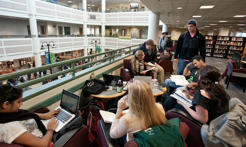 Students prepare for final exams in the Johnson Center at Fairfax Campus. Photo by Alexis Glenn/Creative Services/George Mason University