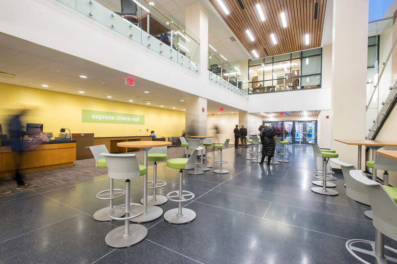 The newly renovated Fenwick Library featuring a research commons, a 24-hour cafe, and designated graduate study spaces. Photo by: Ron Aira/Creative Services/George Mason University