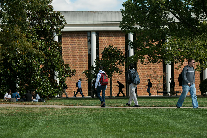 Students walking at Fairfax campus