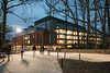 Fenwick Library at night.  Photo by:  Ron Aira/Creative Services/George Mason University