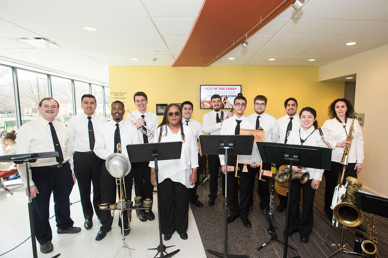 Mason Traditional Jazz Ensemble performs at the grand opening of Music Library's new location in 2600 Fenwick.  Photo by:  Ron Aira/Creative Services/George Mason University