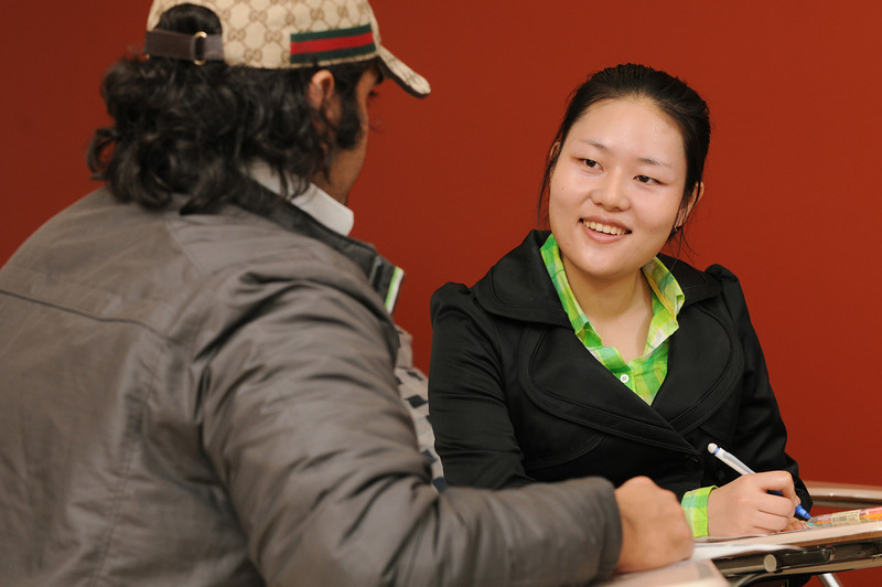 English Language Institute, CORE students work in a classroom at the English Languge Institure.