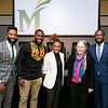 2020 Freedom and Learning Forum: a conversation around the power of symbols, statues, and race in 21st century America, Julian Williams, Dr. Wes Bellamy, Dr. Wendi Manuel-Scott, Martha Rollins, and Hon. Levar Stoney.  Photo by:  Ron Aira/Creative Services/George Mason University