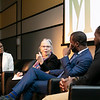2020 Freedom and Learning Forum: a conversation around the power of symbols, statues, and race in 21st century America, Dr. Wendi Manuel-Scott, Martha Rollins, Hon. Levar Stoney, and Dr. Wes Bellamy.  Photo by:  Ron Aira/Creative Services/George Mason University