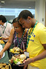 Orientation students and their families meet for lunch in the Johnson Center.