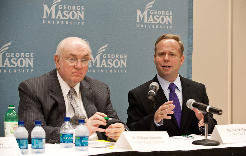 (L to R) Dr. William Schneider, Omer L. & Nacy Hirst Endowed Chair, GMU School of Public Policy, and David Mark, Senior Editor, Politico, at Pizza and Perspectives, Arlington Campus sponsered by University Life Arlington.  Alexis Glenn/Creative Services/George Mason University