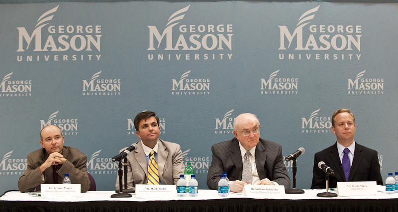 (L to R) Dr. Jeremy Mayer, School of Public Policy Associate Professor, Mark Tooley, President of the Institute on Religion and Democracy, Dr. William Schneider, Omer L. & Nacy Hirst Endowed Chair, GMU School of Public Policy, and David Mark, Senior Editor, Politico, at Pizza and Perspectives, Arlington Campus sponsered by University Life Arlington.  Alexis Glenn/Creative Services/George Mason University