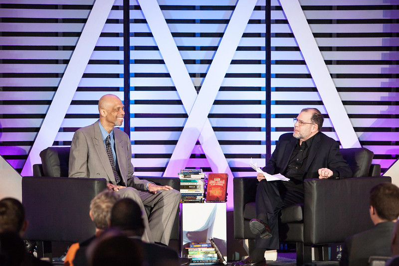 "Mason economist Tyler Cowen and his guest Kareem Abdul-Jabbar.  The ""Conversations with Tyler"" series is hosted by Mason and the Mercatus Center at Mason. <br /> Photo by Ron Aira/Creative Services/George Mason University"