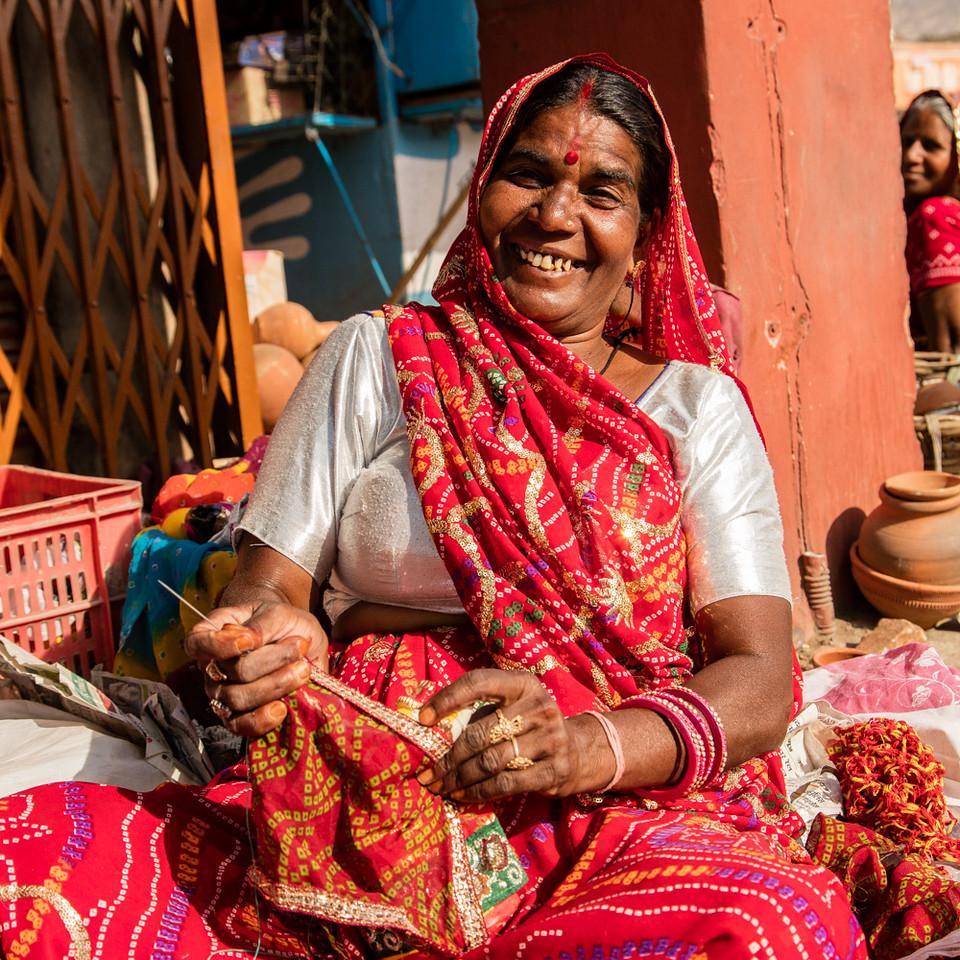 A happy street vendor.