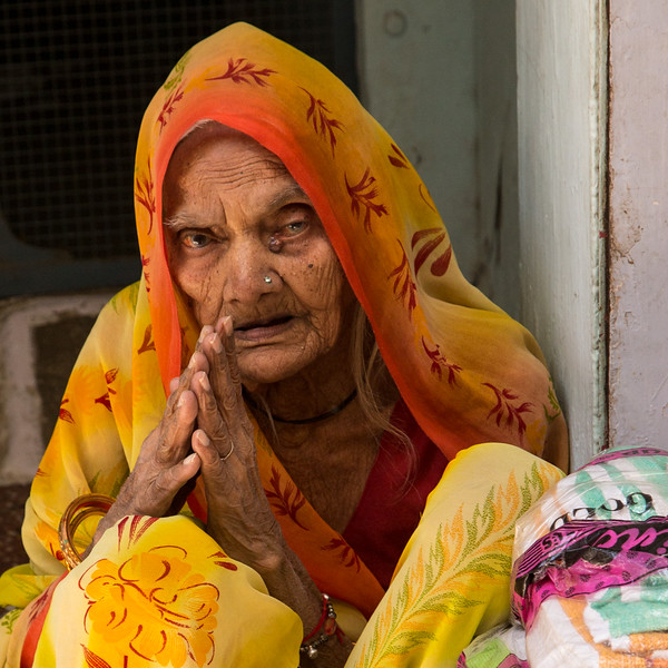 An elderly women wishing us well.