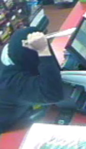 Photo courtesy Alma Police Department  Police are searching for this man suspected of brandishing a knife and robbing the Admiral gas station in Alma.