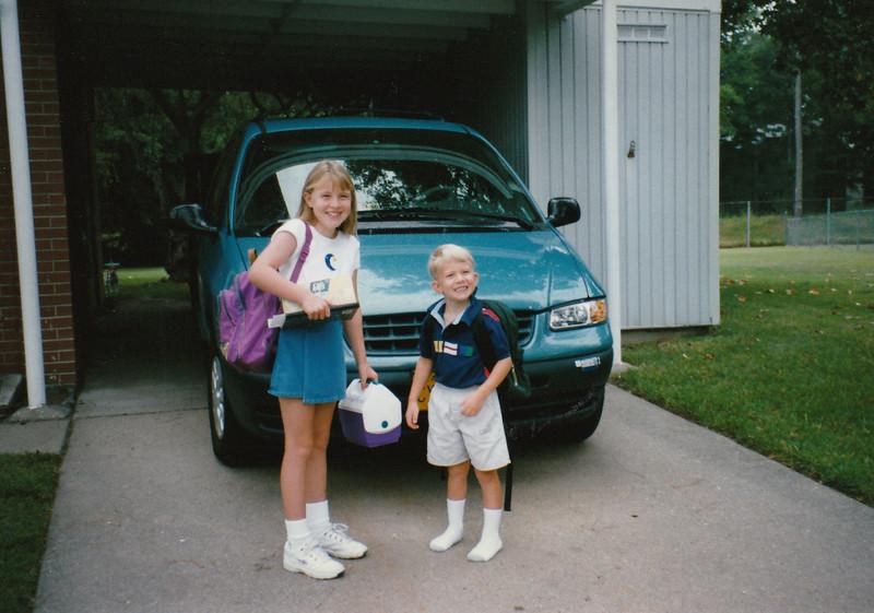 Jin ~ first day of third grade, Ry ~ first day of kindergarten ~ Bethel Manor Elementary ~ Hampton, Virginia ~ September 1996