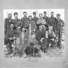 [A group of men at a winter camp, Moose Mountain, circa 1902]