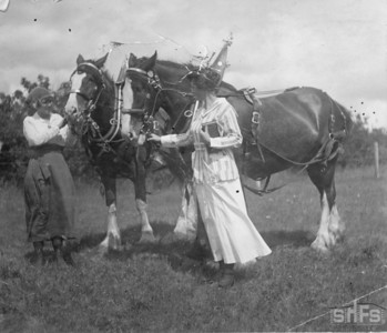 [Two woman with their horses, Silver Maple and June Mitts]