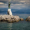 "Lungomare walk with ""Greetings to the Sea"" statue at Opatija"
