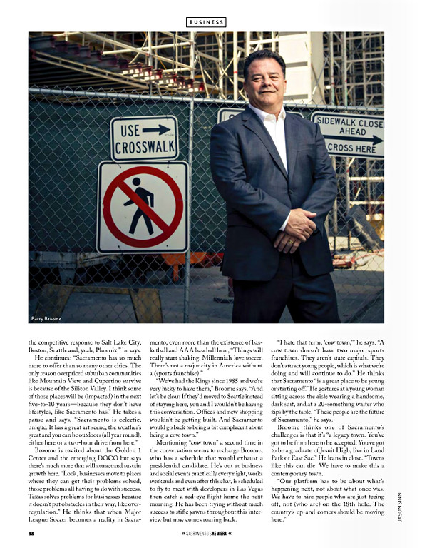 Portrait of President and CEO at Greater Sacramento Economic Council, Barry Broome for Sacramento Magazine's New Era Issue.