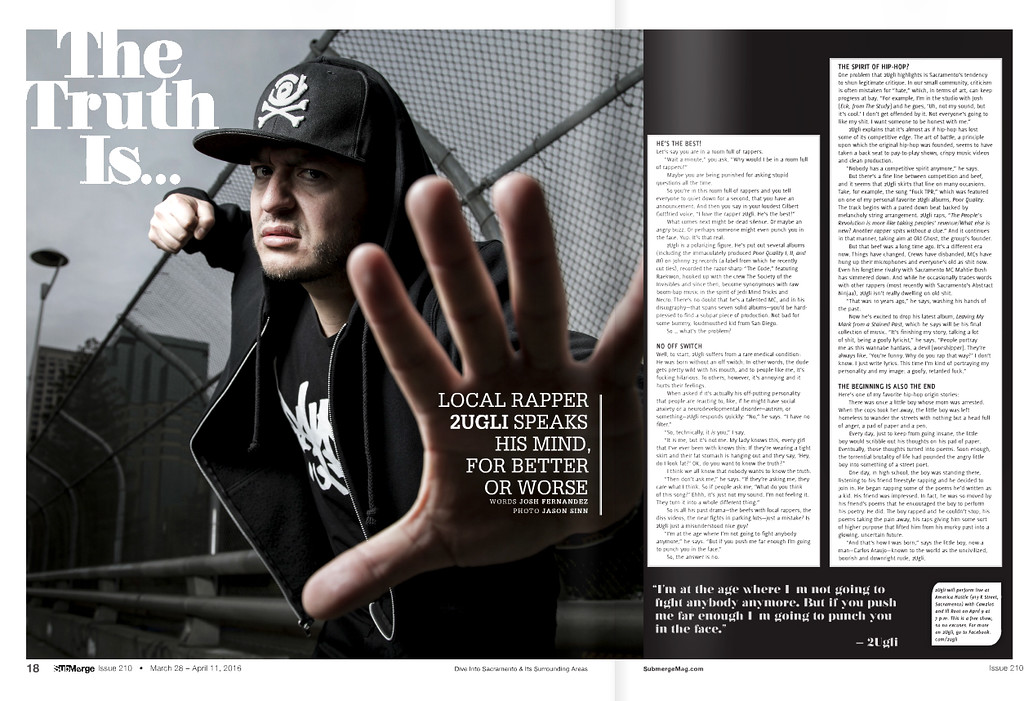 Portrait of rapper, 2UGLi taken for Submerge Magazine.