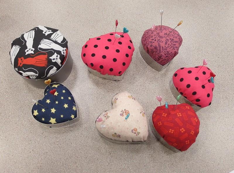 2014 February Glue Gun Gang: Cookie Cutter Heart Pincushions