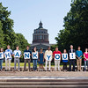 University of RochesterPresident Joel Seligman and students pose for a thank  you photo for campaign donors on Eastman Quad June 17, 2016. // photo by J. Adam Fenster / University of Rochester