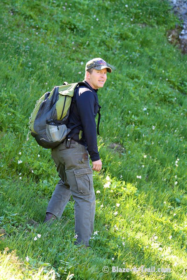 Justin in an alpine meadow