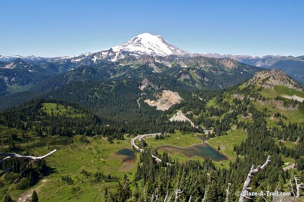 Mt. Rainier wilderness view from the top of Naches peak.  Chinook pass is 1500 feet below.