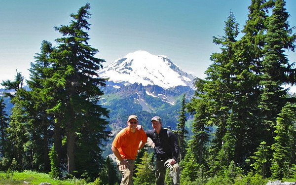 Mike and Justin hiking Naches Peak near Chinook Pass at Mt. Rainier NP.  Spectacular views of Mt. Rainier and Mt. Adams.  August 14, 2010