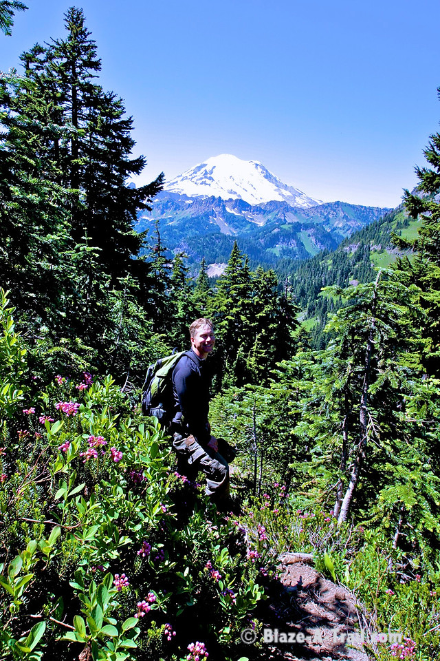 Following game trails through the stunning foilage.  Mt. Rainier is ever so present.