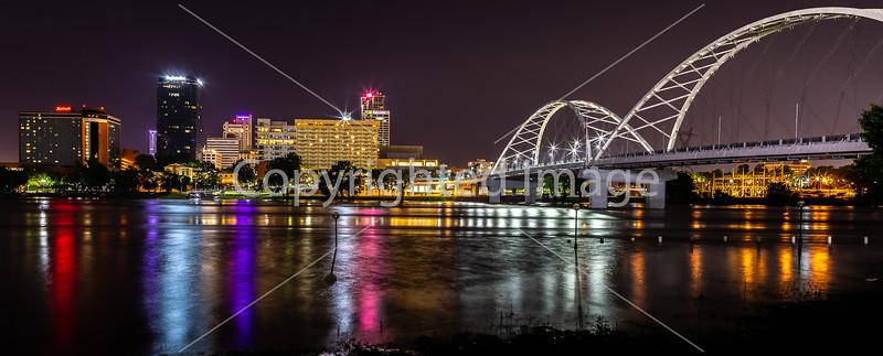 Little Rock, Arkansas -- night skyline above flooded Arkansas River - _W7A0030 - 72 ppi-2