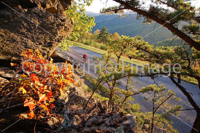 Cyclist near MP 19 on Blue Ridge Parkway in Virginia, at Twenty Minute Cliff- - 72 dpi-3