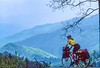 Touring cyclist in Great Smoky Mountains National Park, nearing Newfound Gap - 10 - 72 ppi