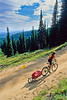 Touring cyclist(s) on Lolo Trail in Idaho's Bitterroot Mts; Forest Road 500 - 7 - 72 ppi