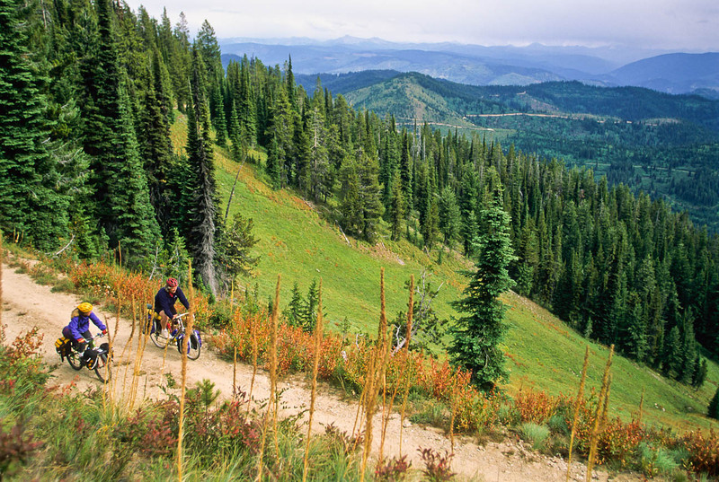 Touring cyclist(s) on Lolo Trail in Idaho's Bitterroot Mts; Forest Road 500 - 2 - 72 ppi