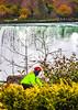 Touring cyclist viewing American side of Niagara Falls, NY-0400 - 72 ppi