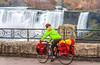 Touring cyclist viewing American side of Niagara Falls, NY-0597 - 72 ppi