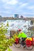 Touring cyclist viewing American side of Niagara Falls, NY-0234 - 72 ppi