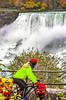 Touring cyclist viewing American side of Niagara Falls, NY-0406 - 72 ppi