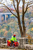 Touring cyclist viewing American side of Niagara Falls, NY-0391 - 72 ppi