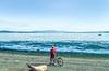 Cyclist at San Juan Island Nat  Historical Park, near Seattle - 7-2 - 72 ppi