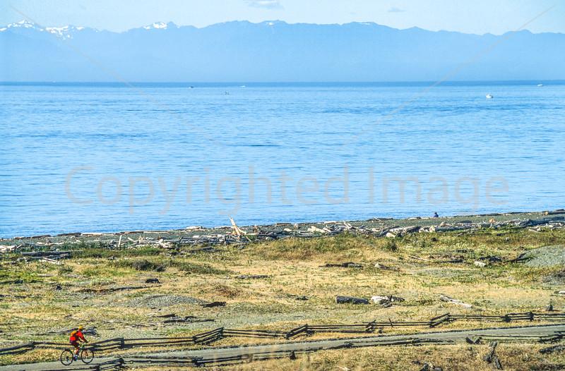 Cyclist at San Juan Island Nat  Historical Park, near Seattle - 8-2 - 72 ppi