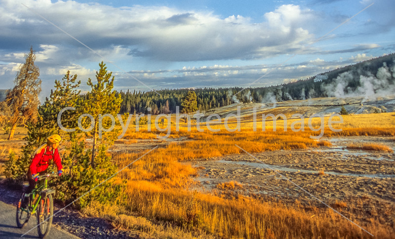 Biker on paved walking-bike path from Old Faithful Geyser to Morning Glory Pool - 15-Edit - 72 ppi-2