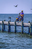 Touring cyclist on dock at Fairhope, Alabama, on Mobile Bay - 2-Edit - 72 ppi