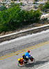 Texas - Cyclist on TX 290 overlooking Fort Lancaster State Historic Site - C8b-'08-1839 - 72 ppi
