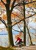 Cyclist at Kill Kare State Park on St  Albans Bay, Vermont-0130 - 72 ppi