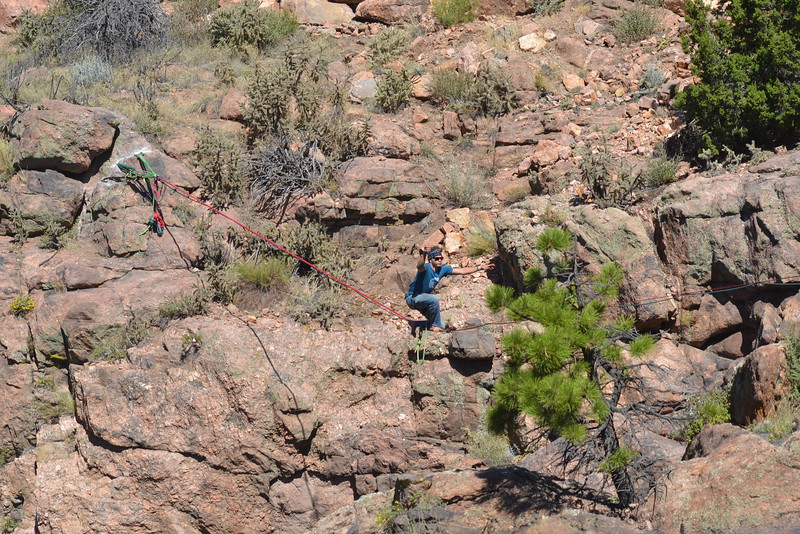 Davis Dailey of Rocky Mountain Slackline regains his balance from high above a gulch at the Royal Gorge Bridge & Park on Saturday during the nine-day Adventure Fest. Carie Canterbury/Daily Record 9-10-16