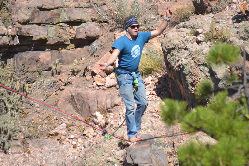 Davis Dailey of Rocky Mountain Slackline walks high above a gulch at the Royal Gorge Bridge & Park on Saturday during the nine-day Adventure Fest. Carie Canterbury/Daily Record 9-10-16