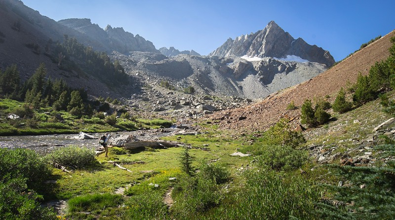 Dan navigating the Horse Creek Drainage. Be prepared to boulder hope and slide down scree slopes.
