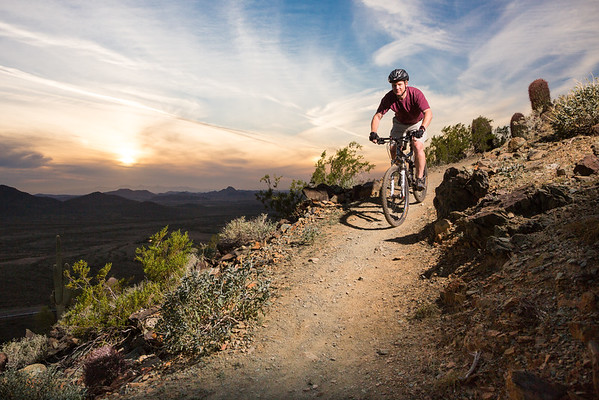 Mountain Biker on a High Desert Trail in Phoenix, Arizona.