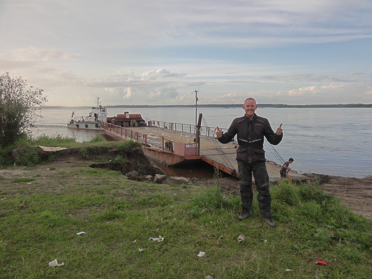 After three days of waiting a ferry finally arrived to carry us across the Aldan River
